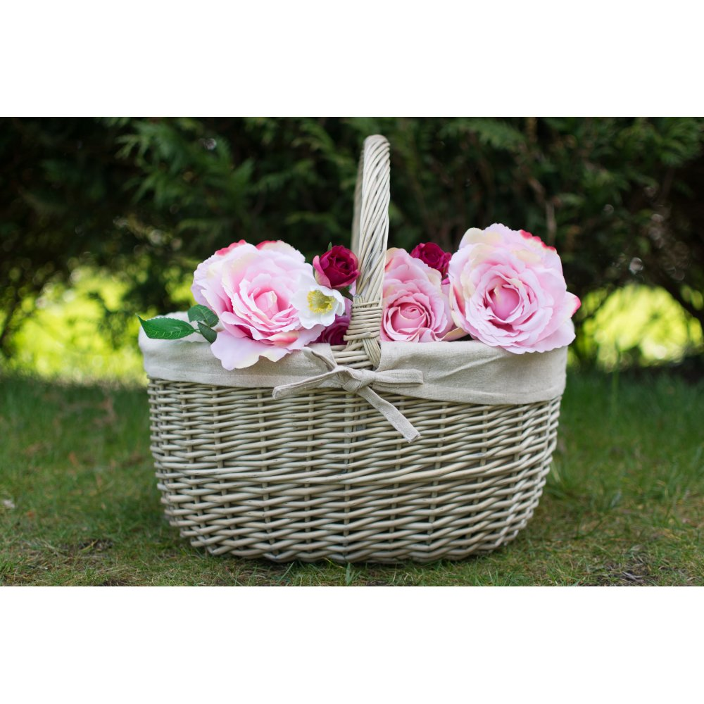 Antique Wash Wicker Lined Storage Basket: Buy Antique Wash Oval Wicker Shopping Basket From The