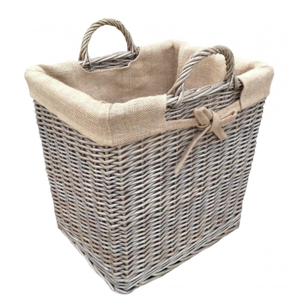 Antique Wash Wicker Lined Storage Basket: Antique Wash Rectangular Tall Lined Log Basket