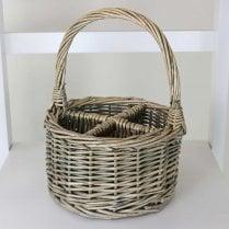 Antique Wash Rectangular 6 Section Cutlery Wicker Basket