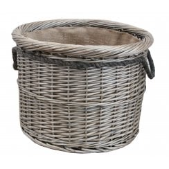 Antique Wash Round Wicker Log Basket Hessian Lined