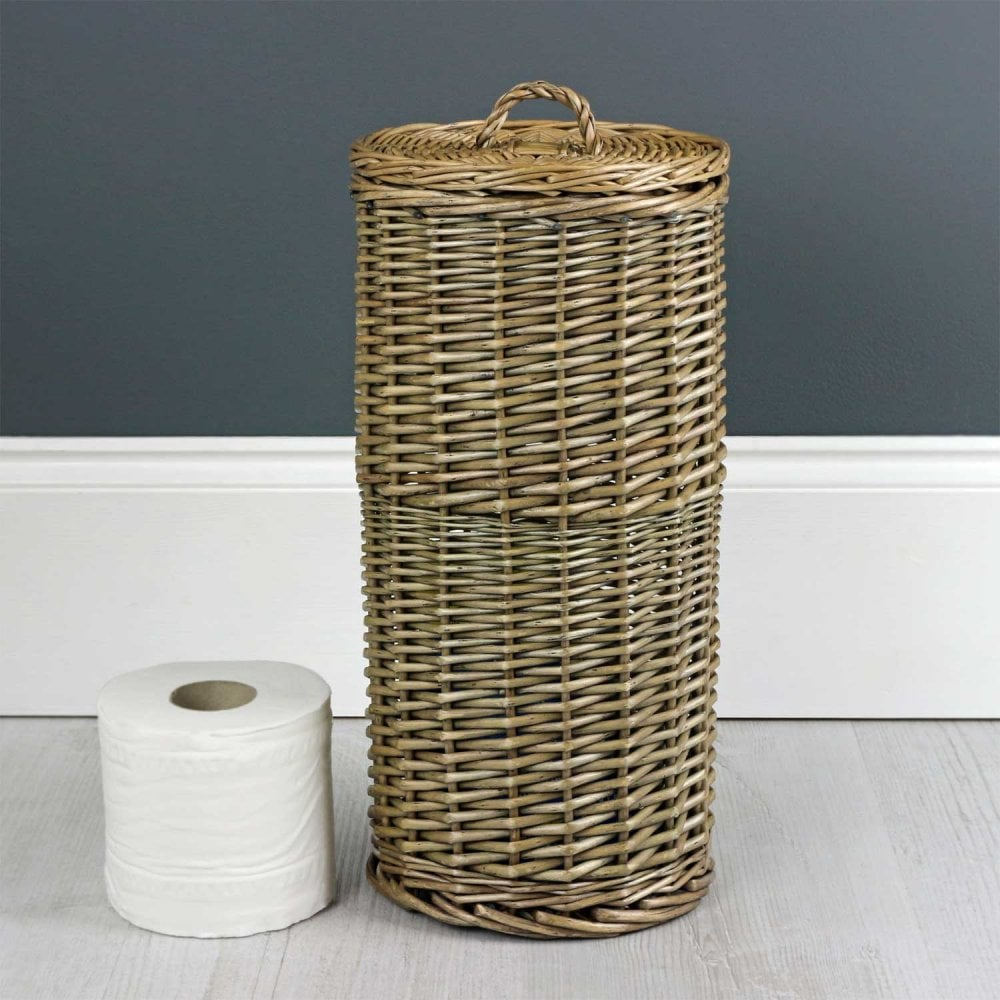Antique Wash Round Wicker Toilet Roll