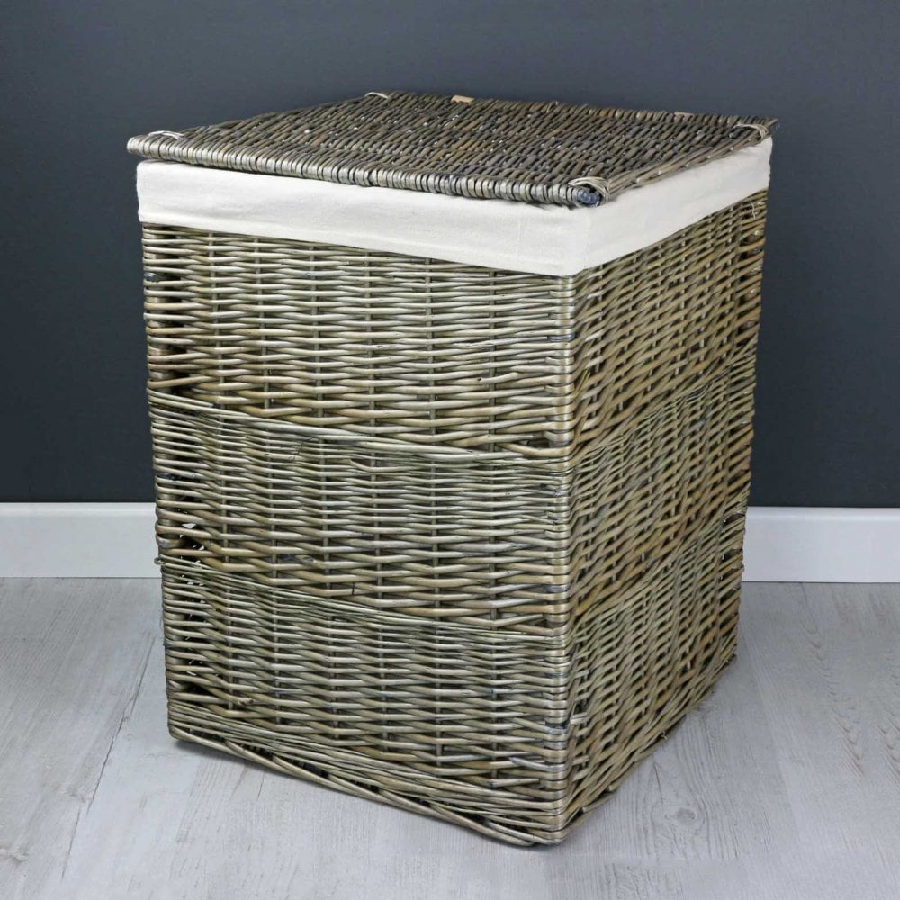 Antique Wash Square Wicker Laundry Basket The Basket Company