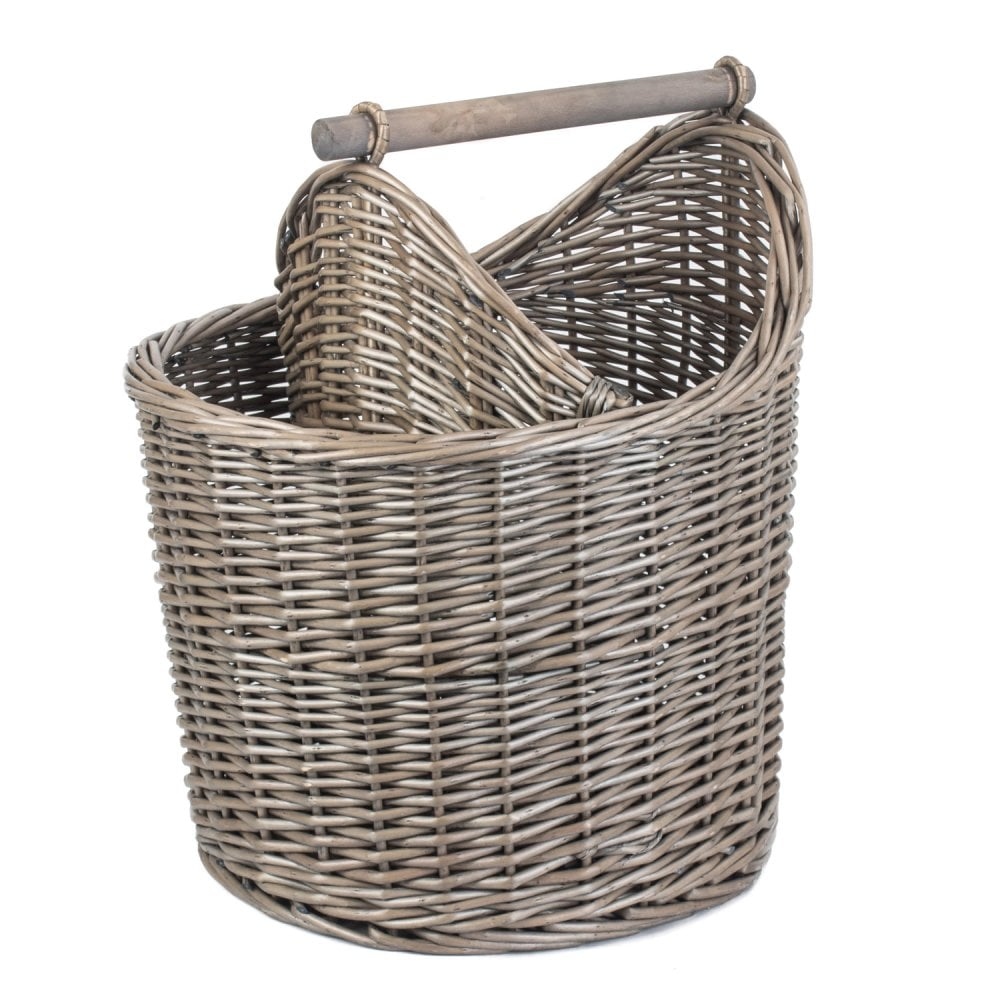 Antique Wash Wicker Bathroom Basket