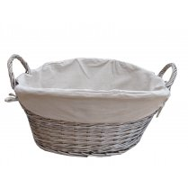 Antique Wash Wicker Laundry Basket / Washing Basket