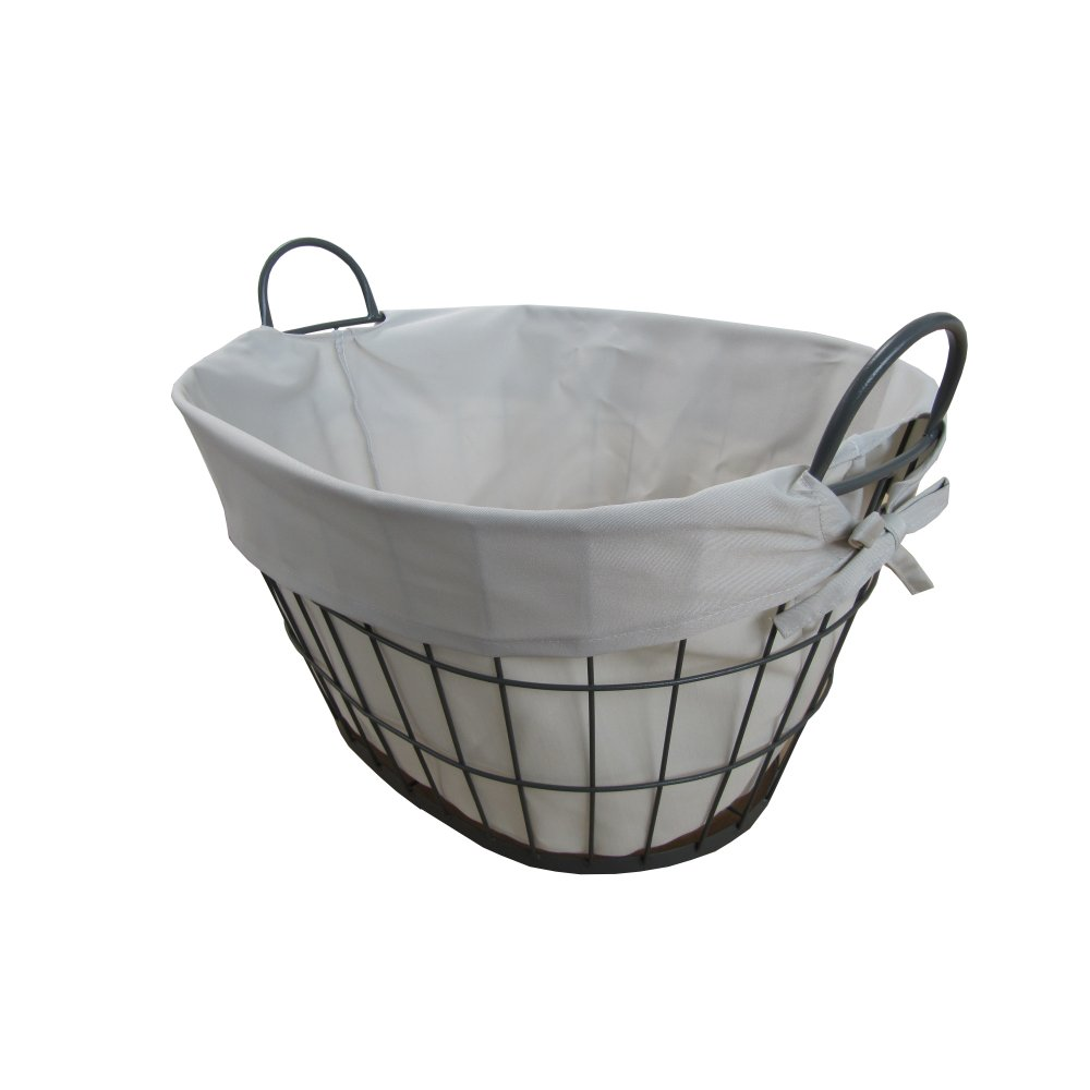 Buy Grasmere Grey Wash Wicker Storage Basket From The: Buy Grey Metal Wire Frame Oval Laundry Basket From The