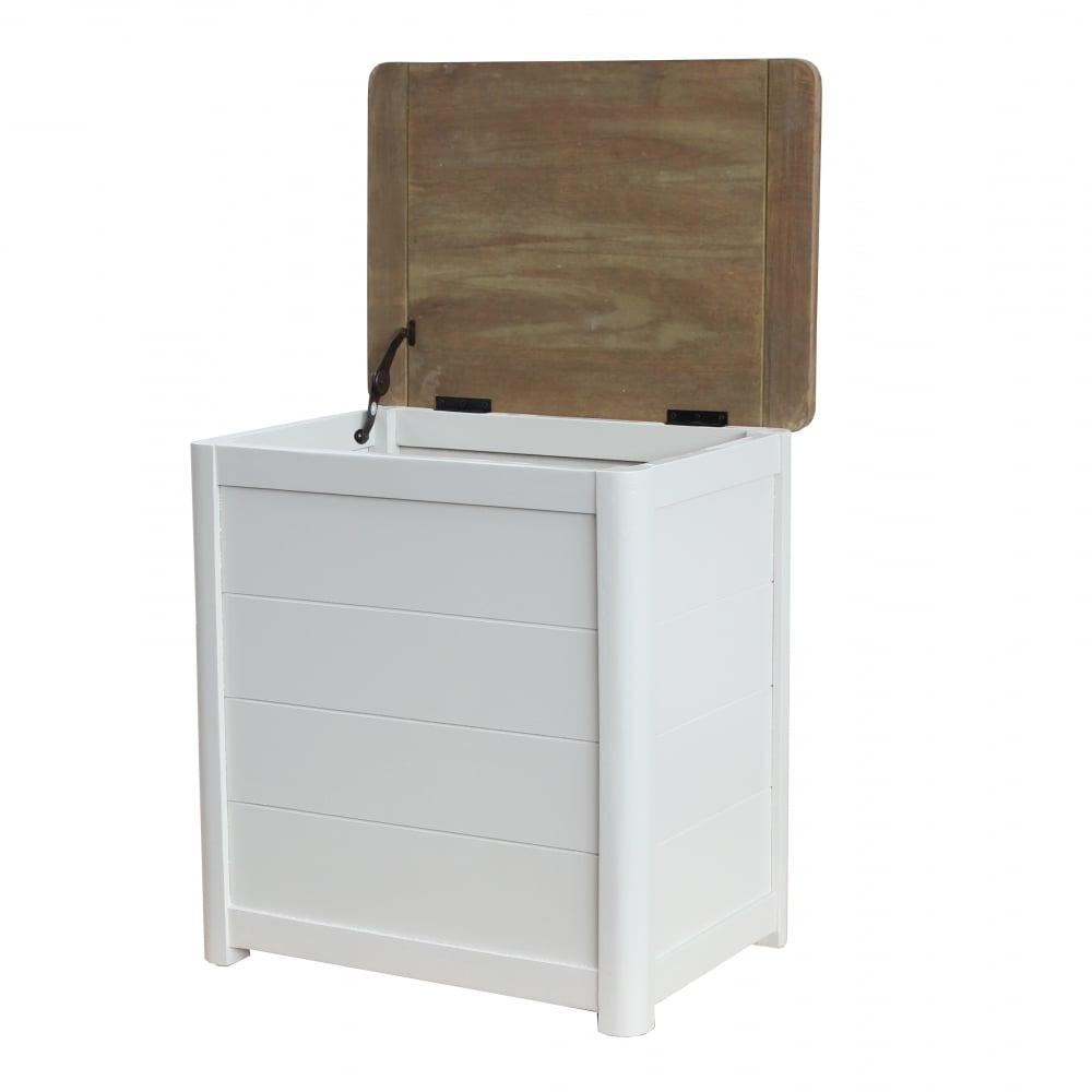 Antique White Wooden Laundry Bin