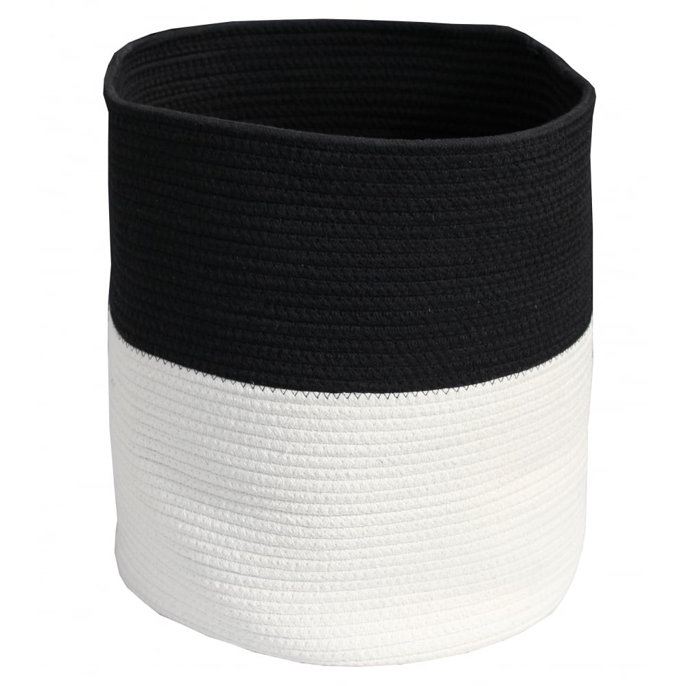 Black Amp White Round Soft Rope Storage Bag Basket