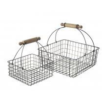 Black Wire Frame Set of 2 Square Baskets