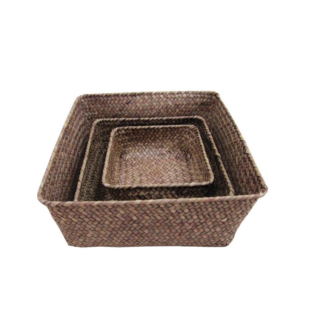 Buy Brown Palm Leaf Square Woven Storage Baskets The