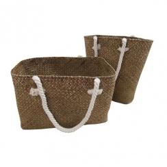 Brown Palm Leaf Storage Bag - Woven Basket
