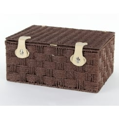 Brown Paper Rope Rectangular Lidded Storage Basket Hamper