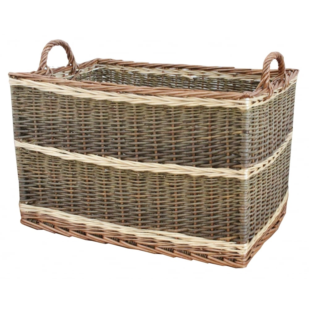 Rectangular Grey Buff Rattan Storage Baskets: Buy Buttermere Rectangular Wicker Log Basket From The