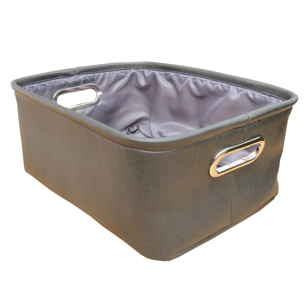 Home storage baskets charcoal grey faux leather storage boxes