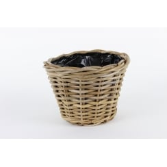 Chelsea Grey & Buff Rattan Round Wicker Small Planter Plant Pot