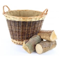 Classic Round Wicker Log Basket Hessian Lined