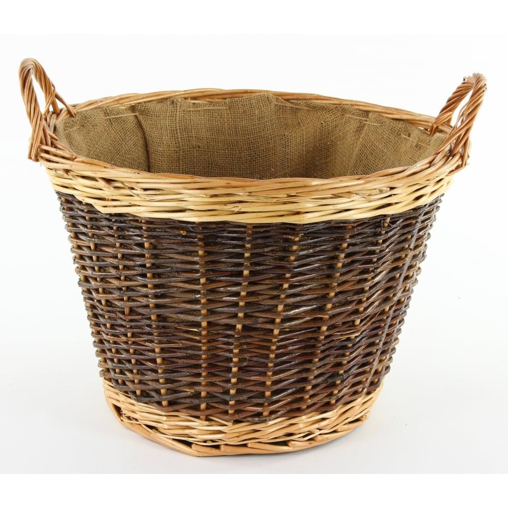 Classic Round Wicker Log Basket Hessian Lined