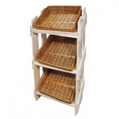 Commercial Shop Display Stand With 3 Large Wicker Storage Baskets