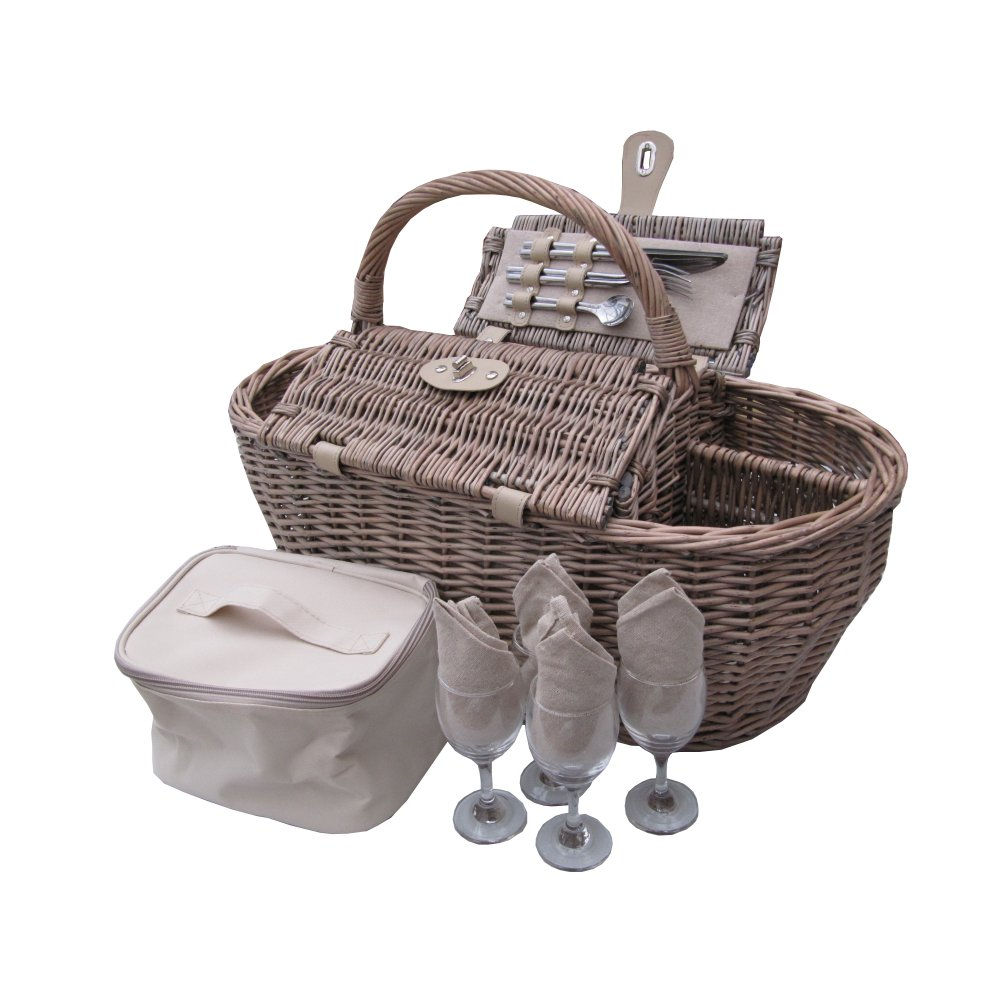 Deluxe Antique Wash 4 Person Wicker Picnic Basket