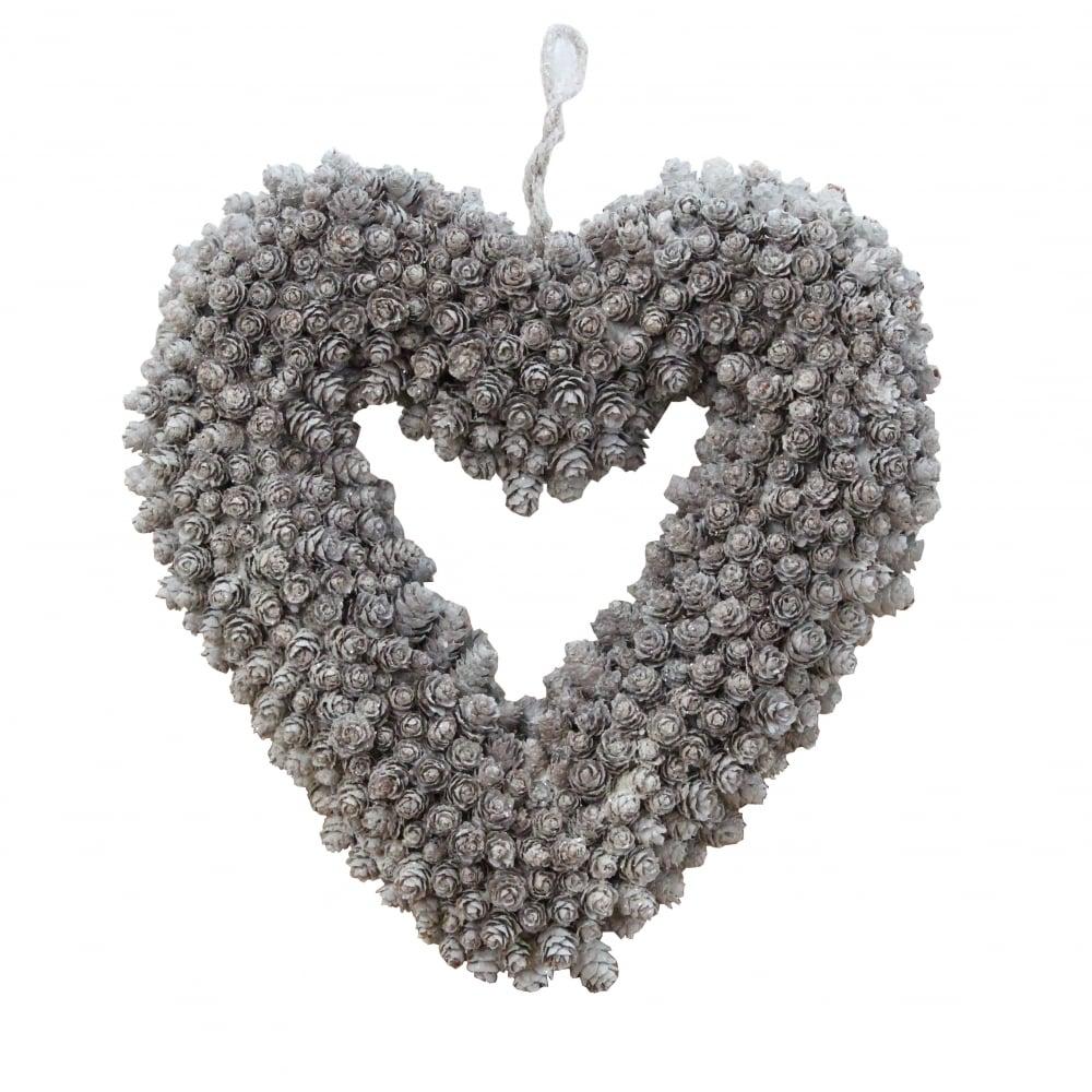 Christmas Heart Wreath.Fir Cone Silver White Heart Shaped Christmas Wreath