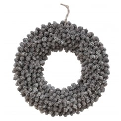 Fir Cone Silver & White Round Christmas Wreath