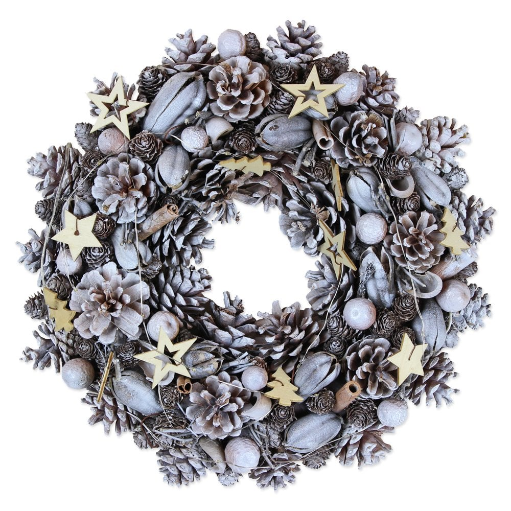 Frosted Light Up Christmas Wreath