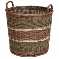 Glastonbury Round Wicker Log Basket