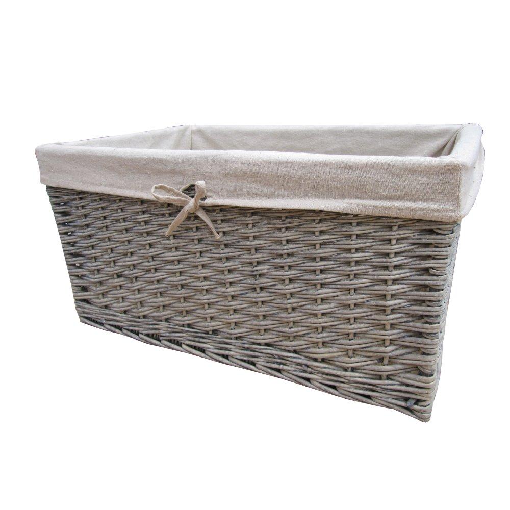 Buy Melbury Rectangular Wicker Storage Basket From The: Buy Grasmere Grey Wash Wicker Storage Basket From The