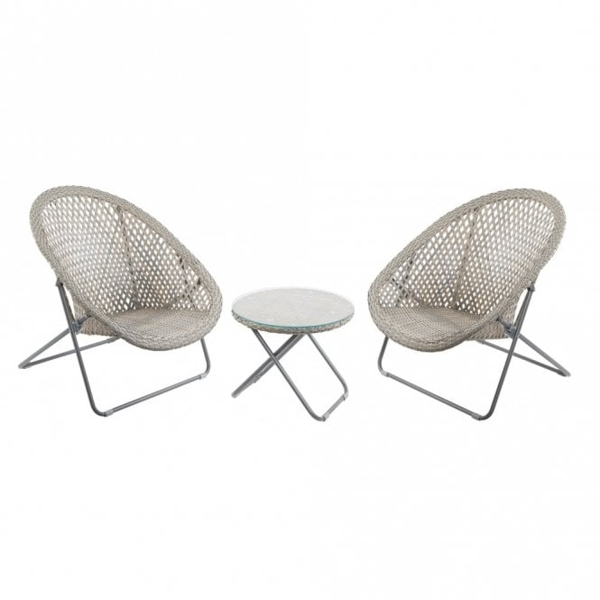 Grey & Buff Faux Rattan Garden Chair & Table Set