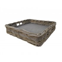 Grey & Buff Rattan Large Wicker Square Tray