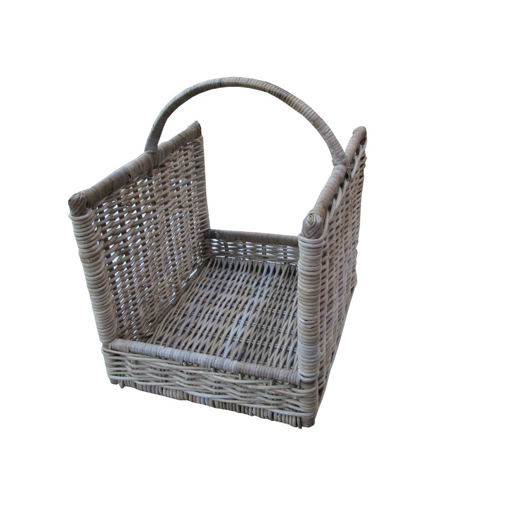 Grey Buff Rattan Open Ended Wicker Log Basket