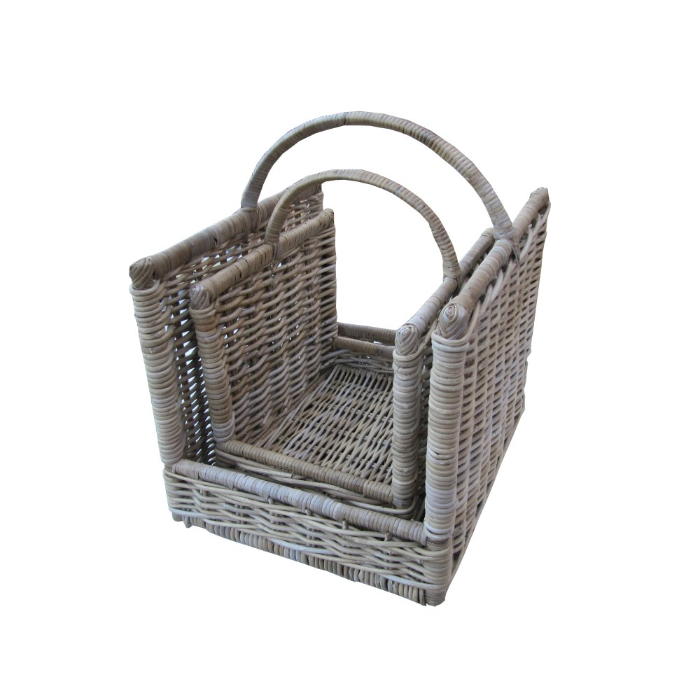 Grey Buff Rattan Square Cube Wicker Storage Basket: Grey & Buff Rattan Open Ended Wicker Log Basket