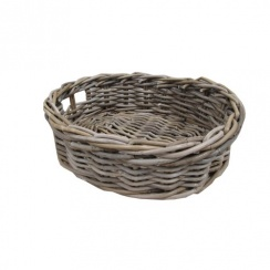 Grey & Buff Rattan Oval Wicker Storage Baskets