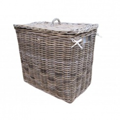 Grey & Buff Rattan Rectangular Lights Darks 2 Section Lined Wicker Laundry Basket