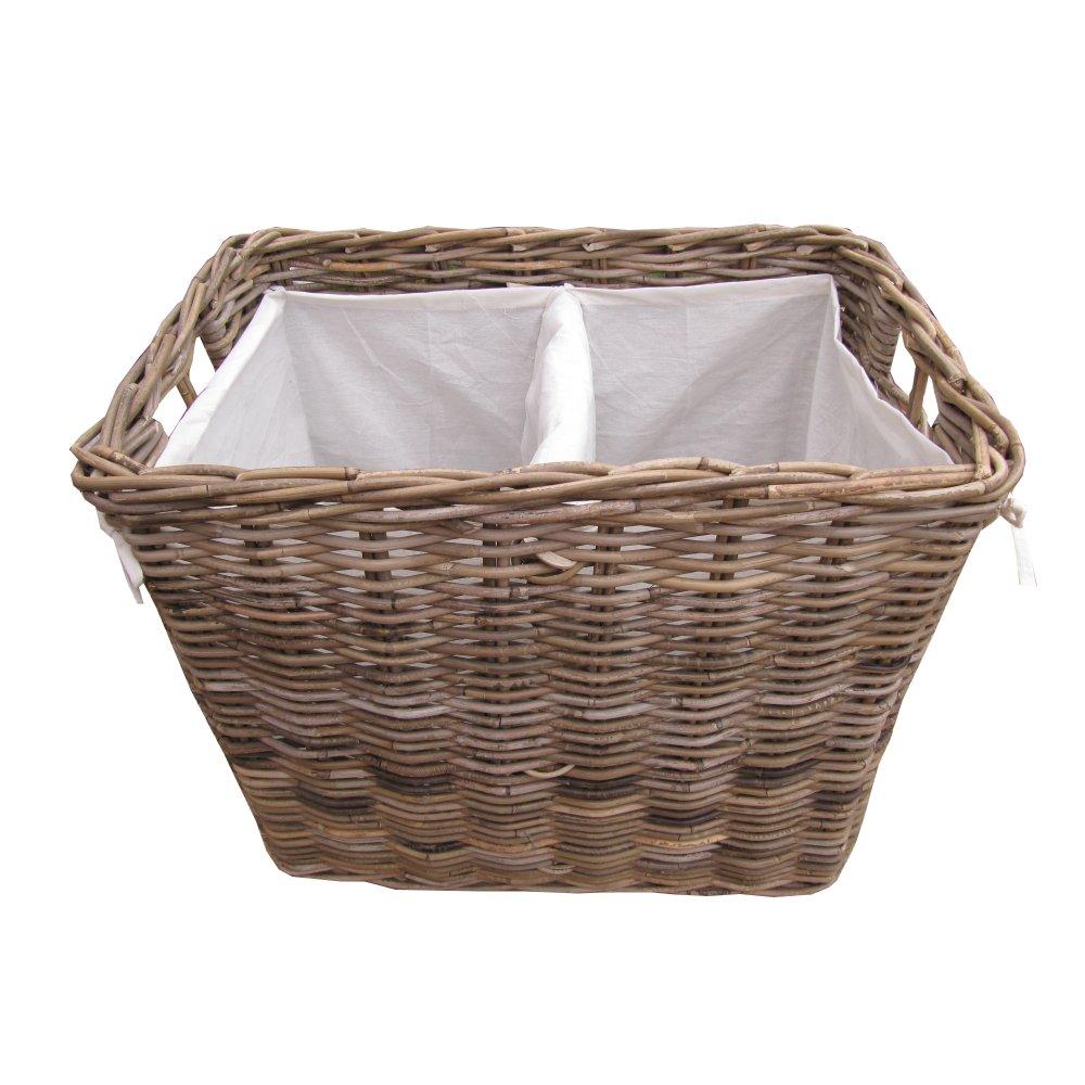 Grey Buff Rattan Square Cube Wicker Storage Basket: Grey & Buff Rattan Rectangular Laundry Basket
