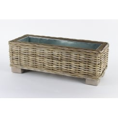 Grey & Buff Rattan Rectangular Trough Planter