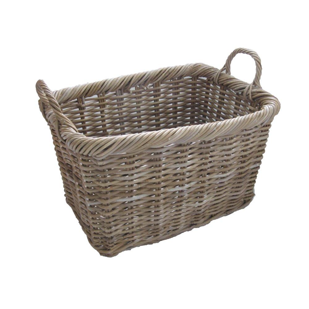 Grey Buff Rattan Square Cube Wicker Storage Basket: Grey & Buff Rattan Rectangular Wicker Log Basket