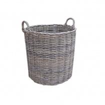 Grey & Buff Rattan Round Wicker Log Basket
