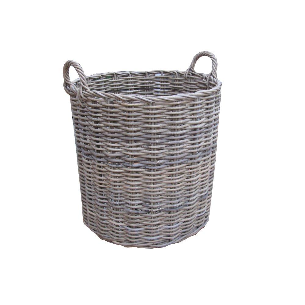 Rectangular Grey Buff Rattan Storage Baskets: Grey & Buff Rattan Round Wicker Log Basket