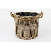 Grey & Buff Rattan Round Wicker Planter With Rope Handles