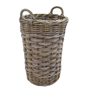 Grey Buff Rattan Square Cube Wicker Storage Basket: Grey & Buff Rattan Round Wicker Umbrella Stand