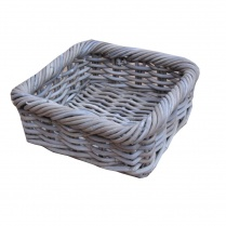Grey & Buff Rattan Shallow Square Wicker Storage Basket