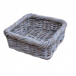 Grey & Buff Rattan Shallow Square Wicker Storage Basket