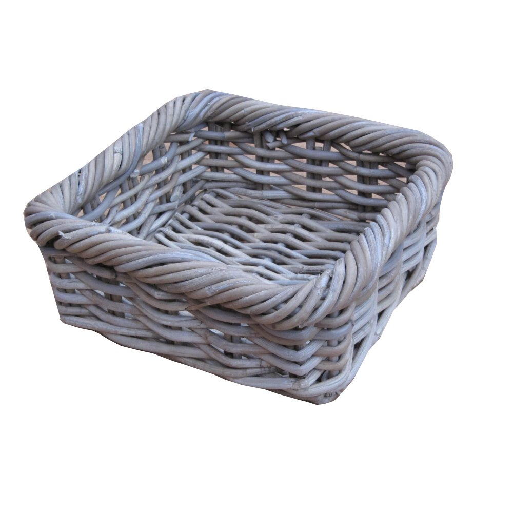 Rectangular Grey Buff Rattan Storage Baskets: Grey & Buff Rattan Square Wicker Storage Baskets