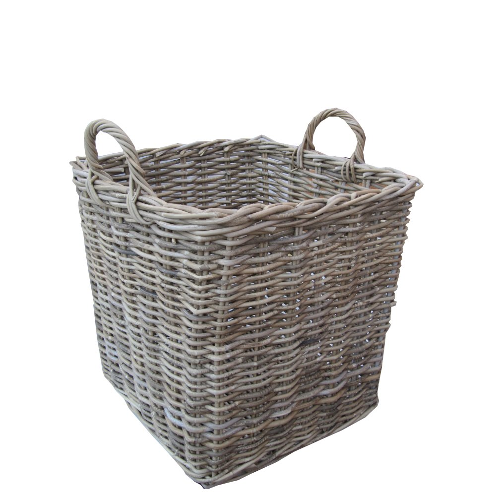 Grey amp buff rattan square wicker log basket