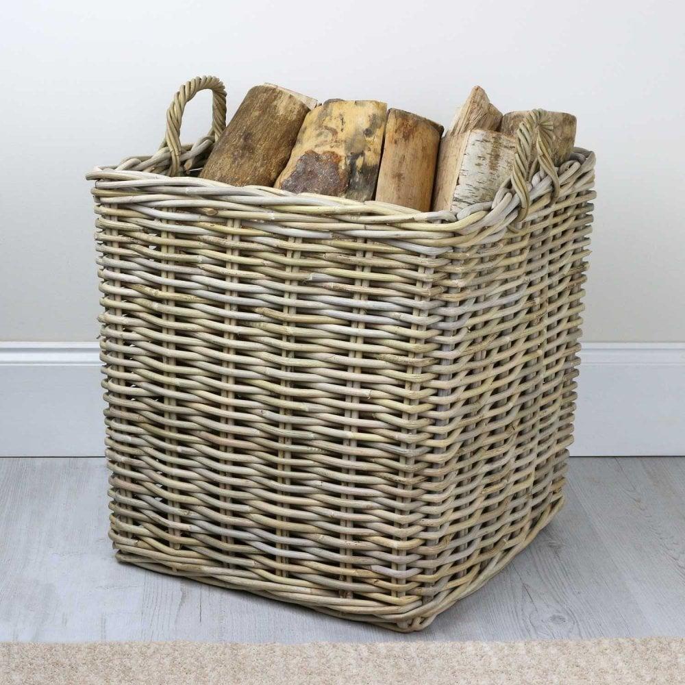 Buff Rattan Square Wicker Log Basket