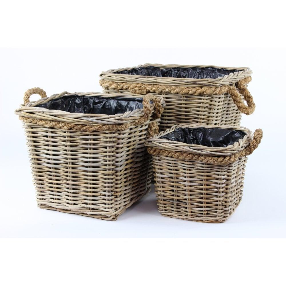 Grey Buff Rattan Square Cube Wicker Storage Basket: Grey & Buff Rattan Square Wicker Rattan Pot Planter