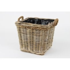 Grey & Buff Rattan Square Wicker Planter