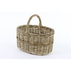 Grey & Buff Rattan Straight Sided Wicker Shopping Basket