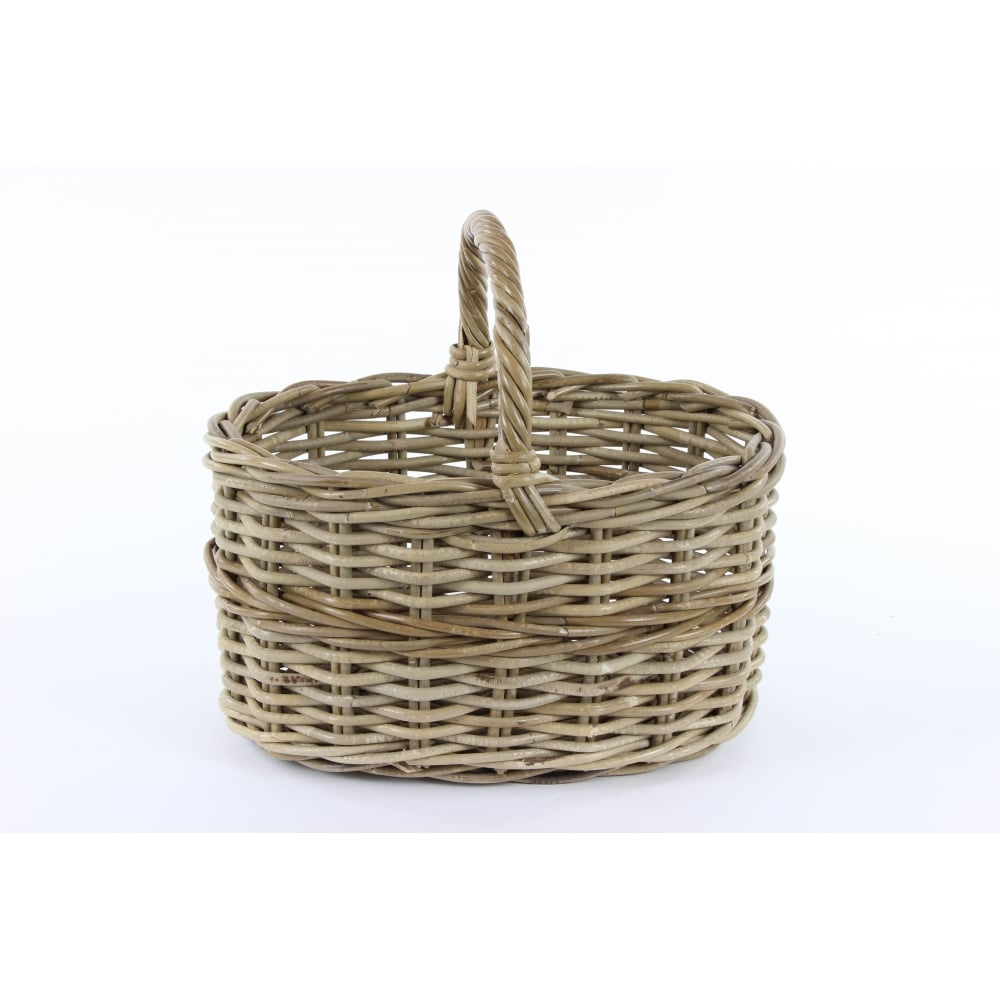 Grey Buff Rattan Square Cube Wicker Storage Basket: Buy Grey & Buff Rattan Straight Sided Wicker Shopping Basket