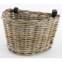 Grey & Buff Rattan Wicker Bicycle Basket With Adjustable Straps